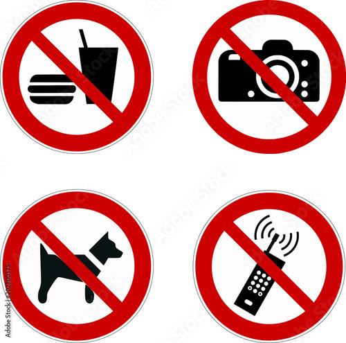 Fototapeta verboten Schild set - Verbotsschilder