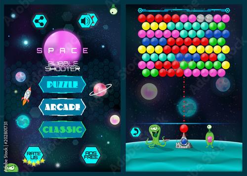 Mobile Bubble Shooter Game Screen Full Game Main Menu Screen And - Game menu design