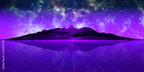 Purple polygonal landscape