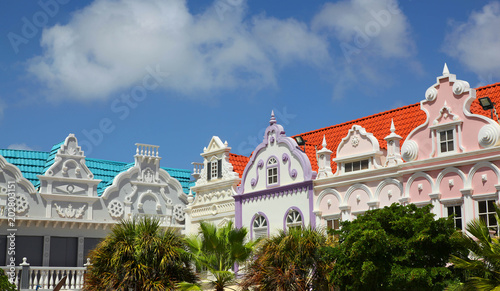 Photo Colorful Building Facades of Oranjestad Aruba