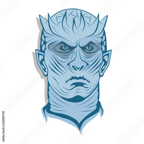 Photo  winter is coming, blue face, ice king. Vector graphics to design.