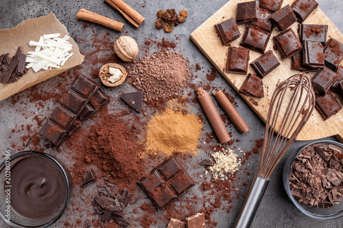Spoed Fotobehang Dessert Delicious chocolate on a rustic background