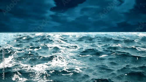Fototapety, obrazy: ocean waves with night sky on the background.