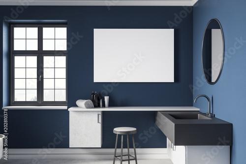 Modern Blue Bathroom With Empty Billboard