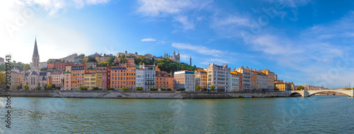 Foto auf AluDibond Rotterdam Panoramic view of Lyon skyline during a sunny day, France