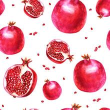 Watercolor Illustration. Pattern. Pomegranate, Half A Pomegranate, Garnet Berries.