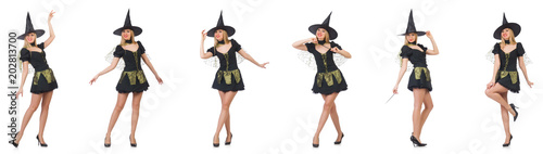 Beautiful witch in black dress isolated on white Canvas Print