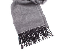 Classic Gray Scarf With Black Fringe Isolated On White Bakcrgound