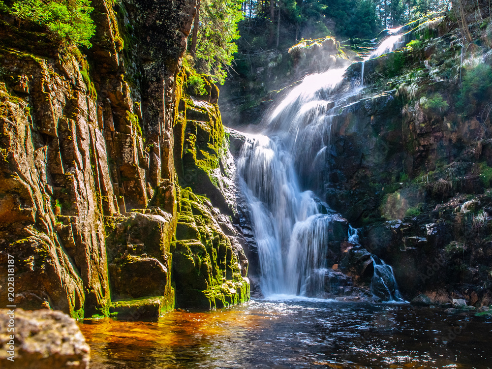Fototapety, obrazy: Kamienczyk waterfall near SzklarskaPoreba in Giant mountains or Karkonosze, Poland. Long time exposure.