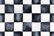 Seamless Watercolor Chessboard Pattern. Contrast And Bright Mosaic Decoration For Design, Art, Prints, Wallpaper, Backdrops. Hand Drawn Watercolour Black And White Artistic Graphic Painting.