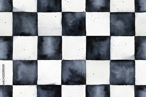 Stampa su Tela Seamless watercolor chessboard pattern