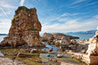Beach of Kassiopi, beautiful cliffs in Corfu, Greece