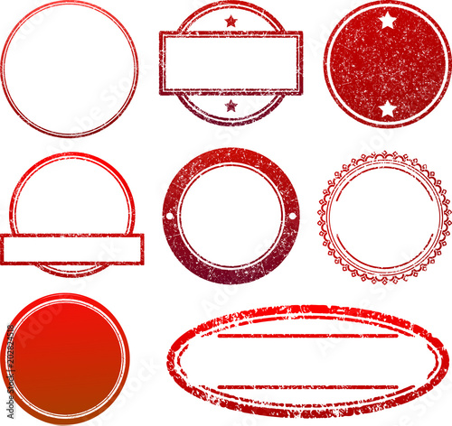Set Of 8 Red Rubber Stamps Templates