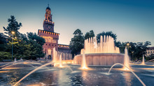 Panoramic View Of Sforza Castle In Milan