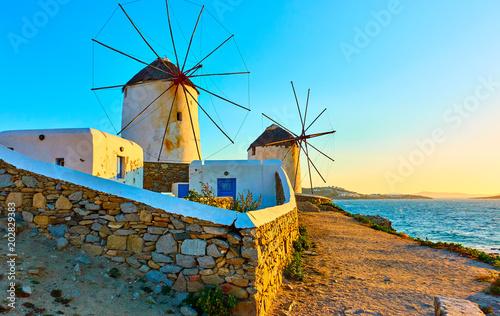 Poster Molens Wndmillls of Mykonos at sundown