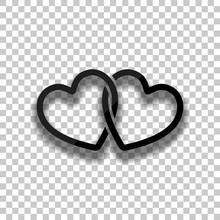 Linked Hearts Icon. Black Glass Icon With Soft Shadow On Transparent Background