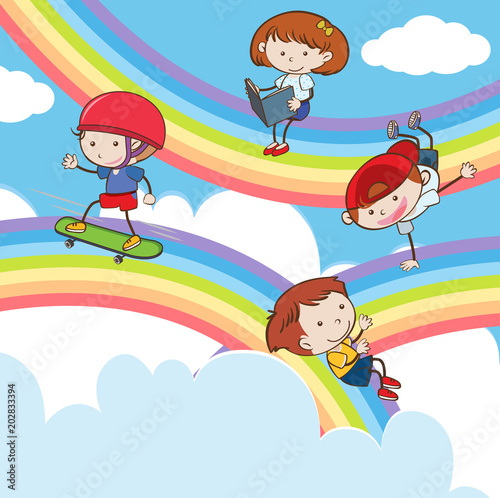 In de dag Regenboog Doodle Kids Playing on Rainbow