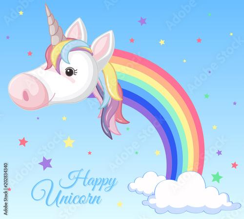 Poster Pony A Rainbow Unicorn and Cloud