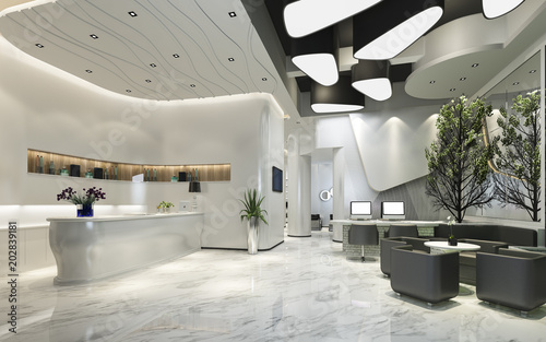 Photographie  3d rendering modern luxury hotel reception and lounge