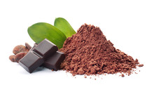 Cocoa Powder, Beans And Pieces Of Chocolate On White Background