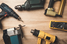 Electric Hand Tools On Wooden ...