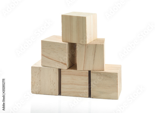 Photo Wooden Building Blocks isolated against white background