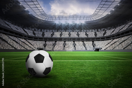 Fototapety, obrazy: Black and white leather football in a vast football stadium with fans in white