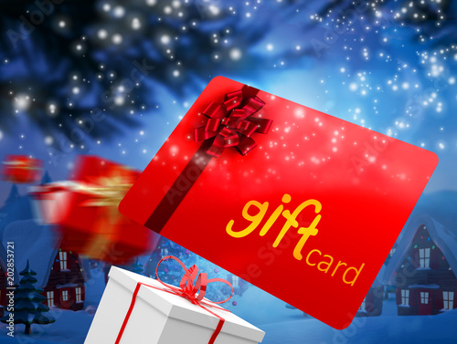 Poster Bordeaux Composite image of red gift card against cute christmas village with tree