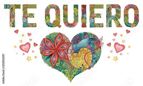 Words TE QUIERO with heart Wallpaper Mural