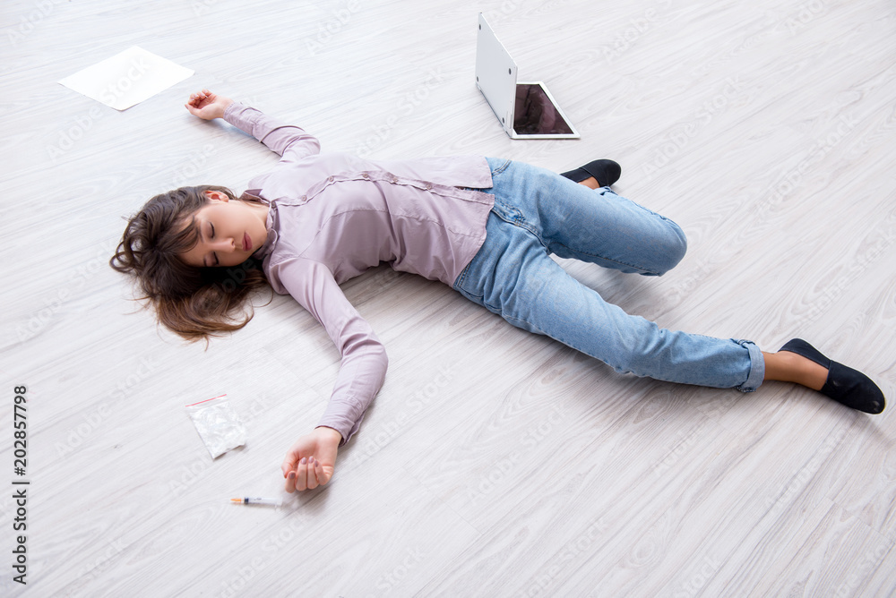 Fototapety, obrazy: Dead woman on the floor after commiting suicide