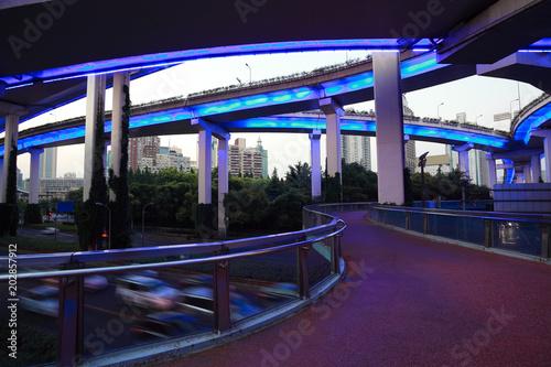 City road overpass viaduct bridge of night scene Wallpaper Mural