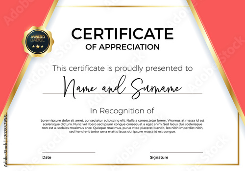 Certificate of appreciation or achievement with award badge. Premium ...