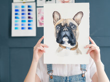 Creative Leisure. Painting Hobby. Artful Personality. Talented Girl Holding Her Watercolor Drawing Of French Bulldog