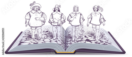 Photo Open book historical novel illustration about three musketeers