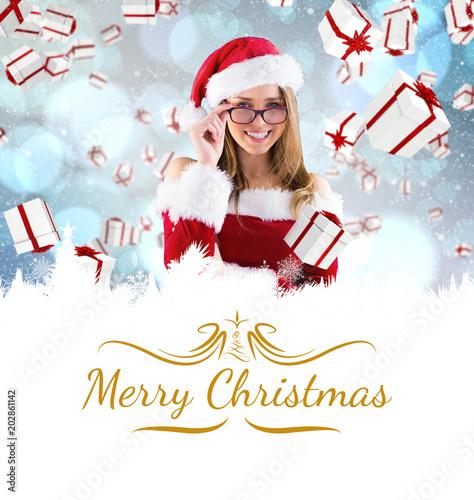 Fotografie, Obraz  sexy santa girl wearing spectacles against border