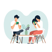 Men And Women Are Relaxing In The Living Room.Vector Illustration Cartoon Character