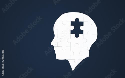 Biała układanka jako ludzki mózg na niebiesko. Koncepcja choroby Alzheimera. 3d ilustracja