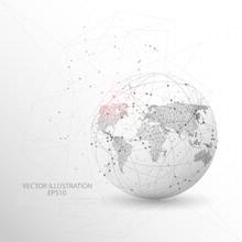 Globe World Map Shape Digitally Drawn Low Poly Wire Frame.