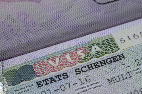 European Union Schengen Zone Visa In Passport   Close Up Shot