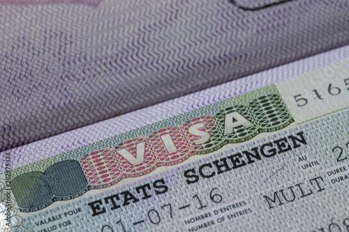 European Union Schengen Zone Visa In Passport   Close Up Shot