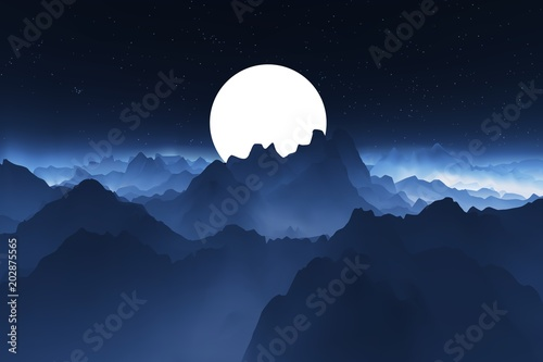 Foto op Aluminium Nachtblauw Night mountain landscape. Landscape with a big moon behind the mountains. Realistic vector illustration.