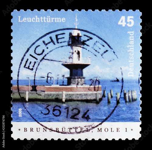 Fotografia  MOSCOW, RUSSIA - OCTOBER 21, 2017: A stamp printed in German Federal Republic sh
