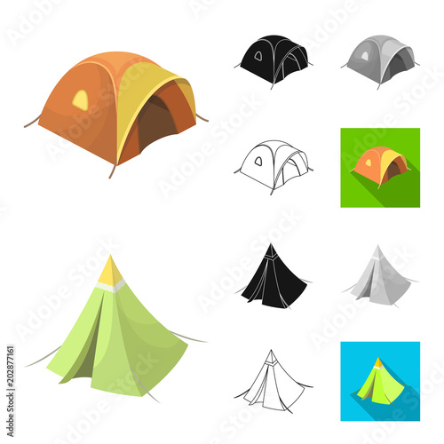 Canvas Prints Baby room Different kinds of tents cartoon,black,flat,monochrome,outline icons in set collection for design. Temporary shelter and housing vector symbol stock web illustration.