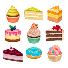 Flat Vector Set Of Various Sweet Desserts. Cupcakes, Doughnut And Cakes. Tasty Baked Goods. Flat Vector Icons