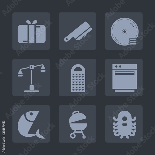 Premium set of fill icons  Such as gas, justice, oven, balance, ufo