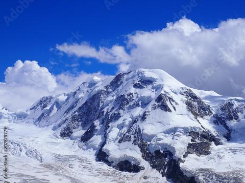 Tuinposter Alpen Lyskamm at Monte Rosa massif landscape of swiss alpine mountain range glacier in Alps in SWITZERLAND from Gornergrat