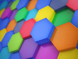 canvas print picture Hexagonal colorful abstract background. 3d illustration