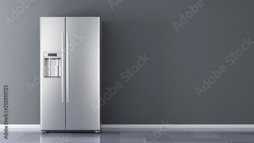 Photo Modern side by side Stainless Steel Refrigerator