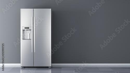 Modern side by side Stainless Steel Refrigerator Wallpaper Mural