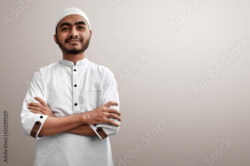 Muslim man smiling